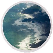 Aerial View Of Tasman Sea Shore Nz North Island Round Beach Towel