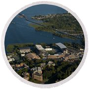 Aerial View Of The New Husky Stadium Round Beach Towel
