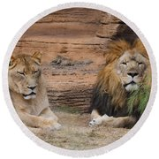 African Lion Couple Round Beach Towel