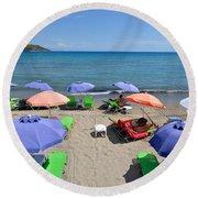 Agia Marina Beach Round Beach Towel