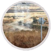 Ah64d Apache Longbow Helicopters  Round Beach Towel