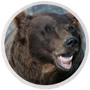 Alaskan Brown Bear Round Beach Towel