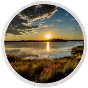 Alaskan Midnight Sun Over The Lake Round Beach Towel