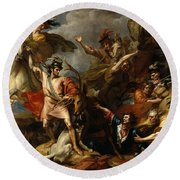 Alexander IIi Of Scotland Rescued From The Fury Of A Stag By The Intrepidity Of Colin Fitzgerald  Round Beach Towel