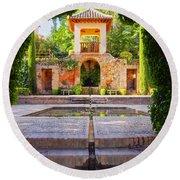 Alhambra In Granada Round Beach Towel