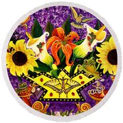 All Gods Creatures Round Beach Towel by Adele Moscaritolo
