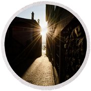 Alley In Backlight Round Beach Towel