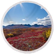 Alpine Landscape In Fall Round Beach Towel