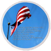 America The Beautiful - Us Flag By Sharon Cummings Song Lyrics Round Beach Towel