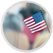 American Flag Round Beach Towel by Alex Grichenko