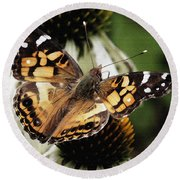American Lady Butterfly Round Beach Towel