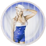 American Pinup Poster Girl In Military Uniform Round Beach Towel