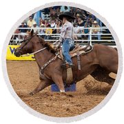 American Rodeo Female Barrel Racer White Blaze Chestnut Horse II Round Beach Towel by Sally Rockefeller