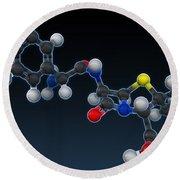 Amoxicillin Molecular Model Round Beach Towel