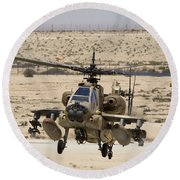 An Ah-64a Peten Attack Helicopter Round Beach Towel