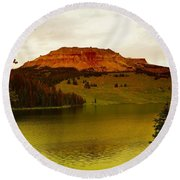 An Alpine Lake Round Beach Towel