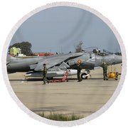 An Av-8b Harrier II Of The Spanish Navy Round Beach Towel