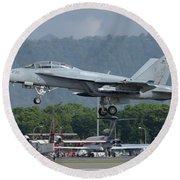 An Fa-18 Super Hornet Of The U.s. Navy Round Beach Towel