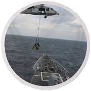 An Mh-60s Sea Hawk Helicopter Delivers Round Beach Towel