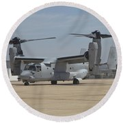 An Mv-22 Osprey Taxiing At Marine Corps Round Beach Towel