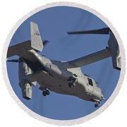 An Mv-22b Osprey Prepares For Landing Round Beach Towel