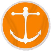 Anchor In Orange And White Round Beach Towel