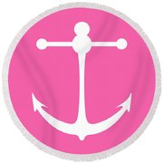 Anchor In Pink And White Round Beach Towel