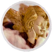 Angel Resting On Clouds And Enjoying The Sun Round Beach Towel