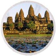 Angkor Wat At Sunset - Cambodia Round Beach Towel