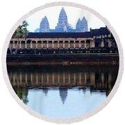 Angkor Wat Reflection Round Beach Towel