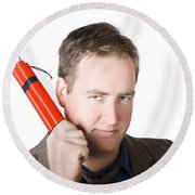 Angry Business Man Holding Stick Of Dynamite Round Beach Towel