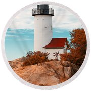Annisquam Lighthouse Round Beach Towel