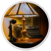 Antique Lamp Typewriter And Phone Round Beach Towel