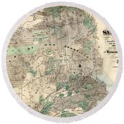 Antique Map Of City And County Of San Francisco Round Beach Towel