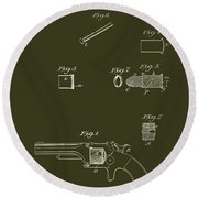 Antique Smith And Wesson Patent For A Metallic Cartridge 1860 Round Beach Towel