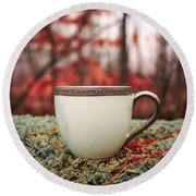 Antique Teacup In The Woods Round Beach Towel