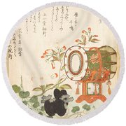 Aoi Plant Cherry Blossoms Drum And Eboshi Hat  Round Beach Towel