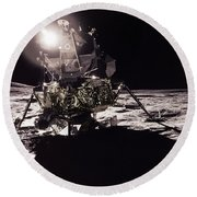 Apollo 17 Moon Landing Round Beach Towel by Science Source