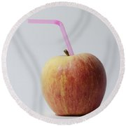 Apple With Straw Round Beach Towel