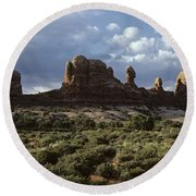 Arches National Park Sunrise Rock Formations  Round Beach Towel