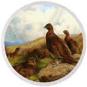 Red Grouse Round Beach Towel