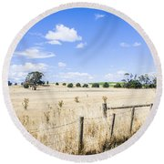 Arid Agricultural Landscape In South Tasmania Round Beach Towel