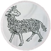 Aries An Illustration From The Poeticon Round Beach Towel