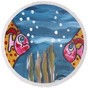 Art Fish Round Beach Towel