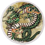 Asian Dragon Round Beach Towel