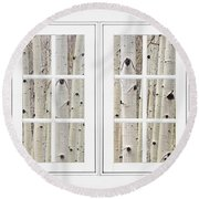 Aspen Forest White Picture Window Frame View Round Beach Towel