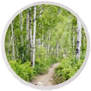 Aspen Path Impasto Round Beach Towel