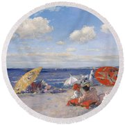 At The Seaside Round Beach Towel