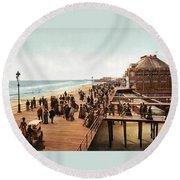 Atlantic City Boardwalk 1900 Round Beach Towel