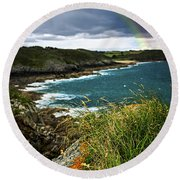 Atlantic Coast In Brittany Round Beach Towel
